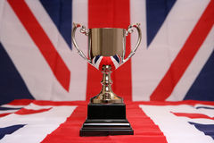 Trophy on union jack Stock Image