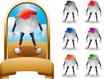 Trophy with a volleyball cartoon character Royalty Free Stock Image