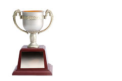 Trophy white background. Winner trophy on white background stock photo