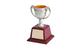 Trophy white background. Winner trophy on white background stock image