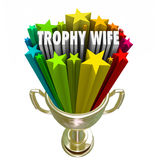 Trophy Wife 3d Words Attractive Younger Woman Older Rich Husband Royalty Free Stock Photography