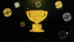 Trophy win cup icon on gold particles fireworks display.