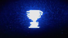 Trophy Win Cup Symbol Digital Pixel Noise Error Animation. Trophy Win Cup Symbol Abstract Digital Pixel Noise Glitch Error Video Damage Signal Loop 4K Animation stock illustration