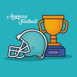 Trophy winner award american football. Cup vector illustration graphic design Royalty Free Stock Photos