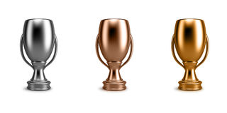 Trophy winner cups. Trophy winners cups on white background Royalty Free Stock Photos