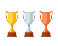 Trophy winner Cups with wooden base isolated on white background. Gold, silver and bronze prize award cups icon. Vector illustration Stock Photos