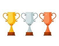 Trophy winner Cups with wooden base isolated on white background. Gold, silver and bronze prize award cups icon. Vector illustration Stock Photography