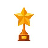 Trophy winner gold star with wooden base isolated on white background. Gold prize award icon. Vector illustration Stock Image