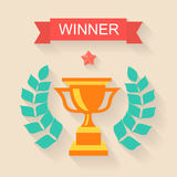 Trophy winner Ribbon in flat design Royalty Free Stock Image