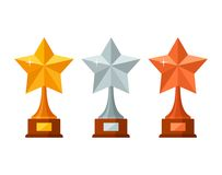 Trophy winner stars with wooden base isolated on white background. Gold, silver and bronze prize award icon. Vector illustration Royalty Free Stock Photo