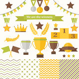 Trophy and winners icons set. Royalty Free Stock Photo