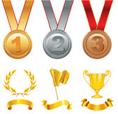 Trophy winners in sports competitions Royalty Free Stock Image