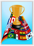 Trophy on world flags panel Stock Image