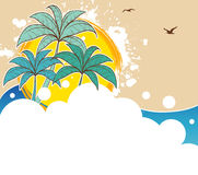 Tropic back with palms royalty free illustration