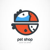 Tropic bird and fish symbol. Vector logo design template. Abstract concept for pet shop, veterinary, zoo Stock Photo