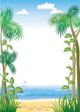 Tropic border. Sea, beach and palm tree Royalty Free Stock Image