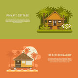 Tropic Bungalow Banners Royalty Free Stock Photography