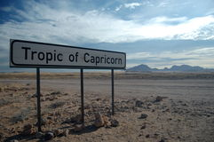 Tropic Of Capricorn. Signpost at the Tropic Of Capricorn in Namibia Stock Images