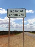 Tropic of Capricorn. Sign on an outback road identifying the Tropic of Capricorn Royalty Free Stock Images