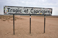 Tropic of Capricorn sign Stock Image