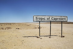Tropic of Capricorn sign in Namibia Royalty Free Stock Image