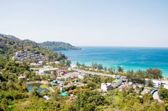 Tropic recreation shore. Tropic city, village, Thailand phuket shore line, sand royalty free stock photo