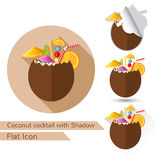Tropic coconut cocktail flat design with oval long shadow and folded corner Stock Images
