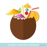 Tropic coconut cocktail flat style Stock Images