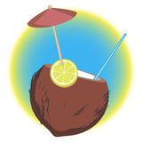 Tropic coconut coctail. vector illustration. Stock Image