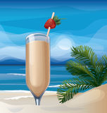 Tropic exotic cocktail on ocean beach Royalty Free Stock Photos