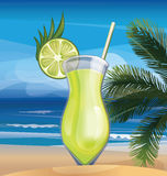Tropic exotic cocktail on ocean beach Royalty Free Stock Photography