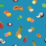 Tropic exotic fruits blue seamless pattern Stock Image