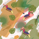 Tropic exotic multicolor pattern with birdsand tropical plants. Tropic exotic multicolor pattern with birds hornbill and tropical plants. Modern art background Royalty Free Stock Image