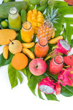 Tropic flat lay top view tropical colorful fruits Stock Images