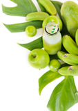 Tropic flat lay top view tropical green fruits Stock Photo