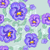 Tropic floral background with pansy Royalty Free Stock Photos