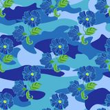Tropic flowers on the camouflage background. Vector seamless pattern. Camo flower tropical illustration. For your web Royalty Free Stock Photo