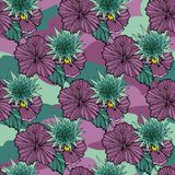 Tropic flowers on the camouflage background. Vector seamless pattern. Camo flower tropical illustration. For your web vector illustration