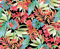 Tropic flowers. Tropic exotic hibiscus flowers, orchid, plumeria. With trendy blue and green leaves of a banana palm tree. Floral seamless pattern. Hand drawn royalty free illustration