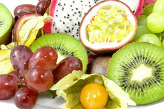 Tropic fruits. Still life of different exotic fruits, including kiwi, dragon fruit, passion fruit, grapes and physalis Royalty Free Stock Image