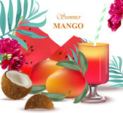 Tropic fruits exotic pattern Summer Vector illustration Royalty Free Stock Photo