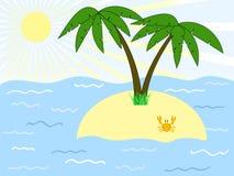 Tropic island. With palms among the sea Stock Image
