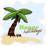 Tropic island background. Card concept Stock Images