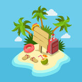 Tropic island beach wooden signpost flat 3d web isometric Royalty Free Stock Photos