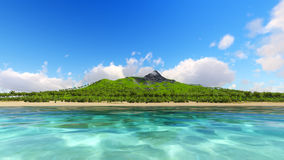 Tropic island and ocean 3D render Stock Photography