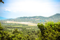 Tropic island Samui, sea and airport, panorama Stock Photos