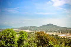 Tropic island Samui, sea and airport, panorama. Tropic island Samui, sea and airport, Thailand royalty free stock photo