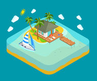 Tropic island, sea, beach - travel vacation isometric concept Stock Photos