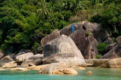 Tropic island. Seashore with stones Stock Photo