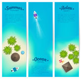 Tropic islands with palms, villas, beach and boats. Vector vertical banners set. Royalty Free Stock Image